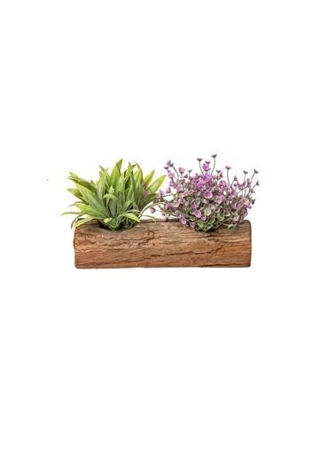 Warm Design Kütük Üzerinde Yapay Çiçekler Renkli